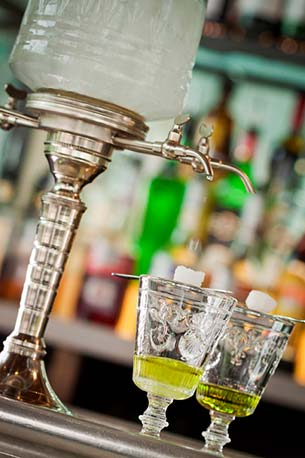 Absinthe Fountain With Absinthe Glasses