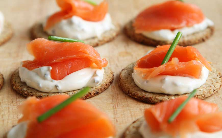 Appetizer Canapes with Cheese and Salmon