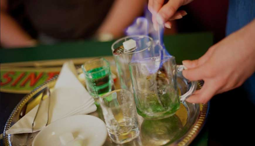 Absinthe Drinks With Flaming Sugar