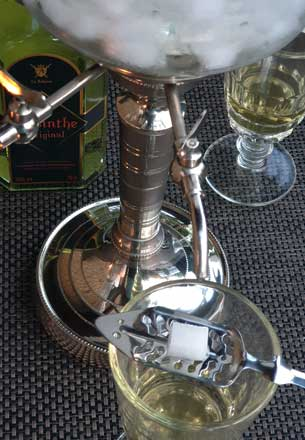 Detail of Traditional Absinthe Fountain with Glasses
