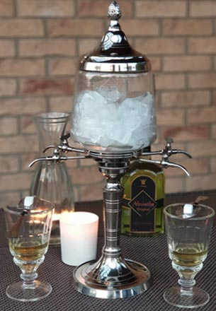 Metal Absinthe Fountain with Glasses, Spoons and Sugar