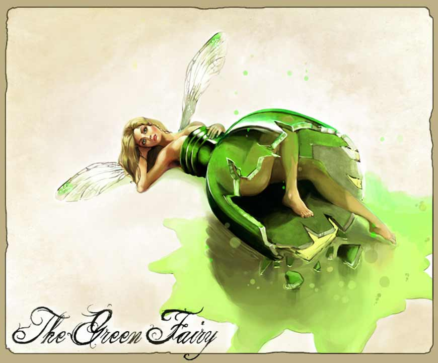 Painting - Green Fairy in a Broken Bottle