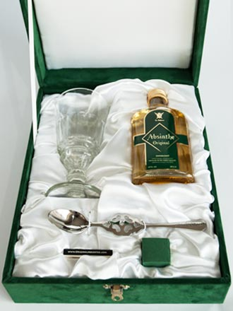 Absinthe starter set with bottle, glass and spoon