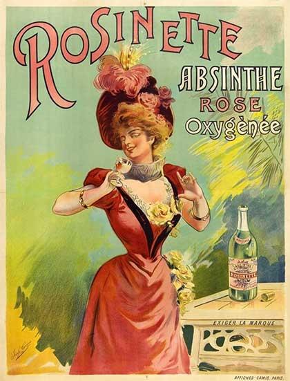 Absinthe Rosinette historical poster for Rose Absinthe